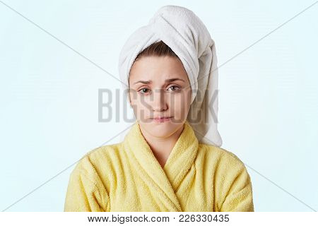 Serious Beautiful Young Female Prepares For Date With Boyfriend, Takes Shower, Going To Do Make Up,