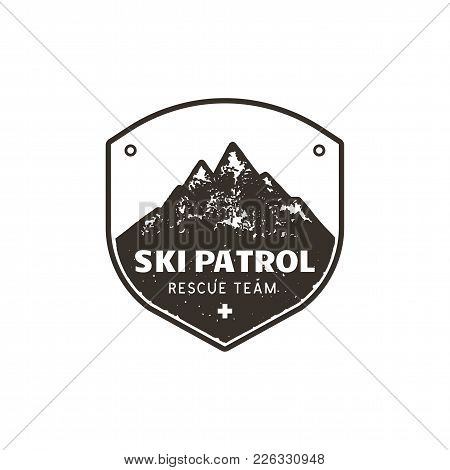 Vintage Hand Drawn Mountain Ski Patrol Emblem. Rescue Team Patch. Mountains Stamp. Monochrome, Grung