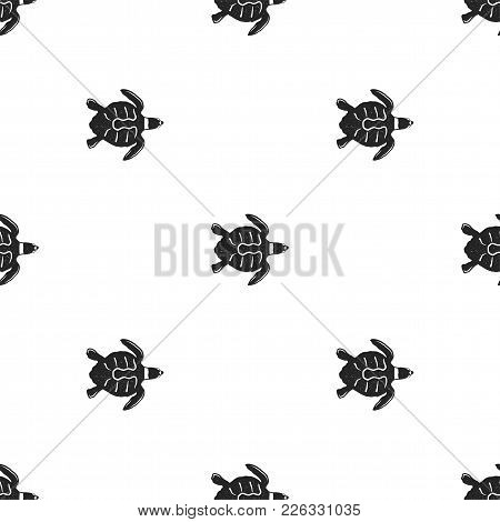 Turtle Pattern. Seamless Background Illustration With Wild Animal Symbols, Elements. Monochrome Silh