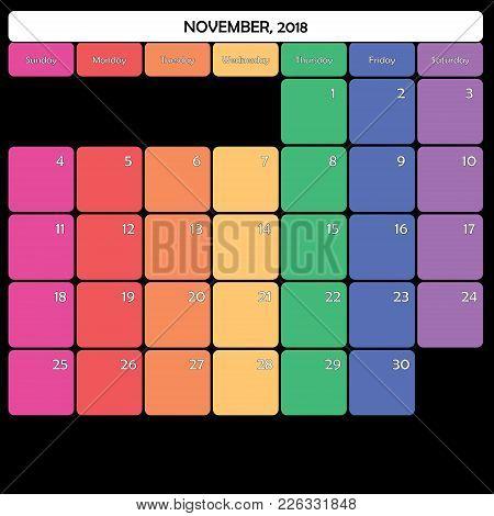 November 2018 Planner Calendar Big Editable Space Color Day