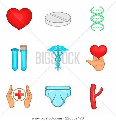 Pharmaceuticals Icons Set. Cartoon Set Of 9 Pharmaceuticals Vector Icons For Web Isolated On White B