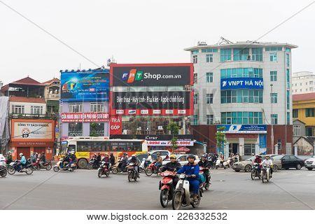Hanoi, Vietnam - Mar 15, 2015: Hanoi Street Traffic At Intersection Xa Dan - Ton Duc Thang - Tay Son