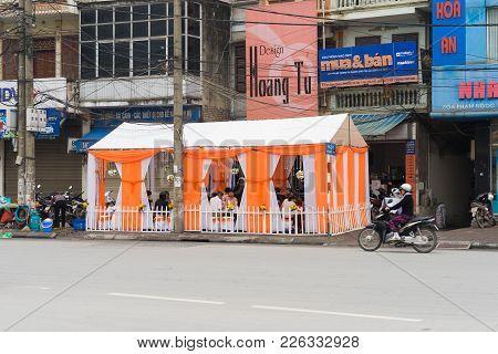 Hanoi, Vietnam - Mar 15, 2015: A Wedding Room Organized Right On Street In Pham Ngoc Thach Street. D