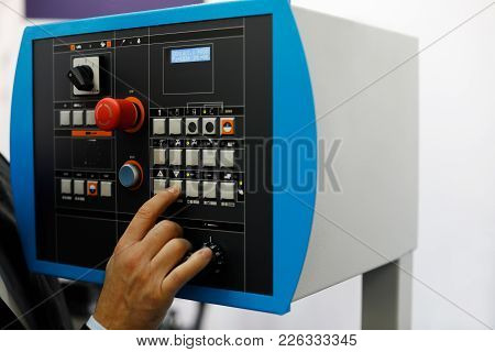 Control Panel Of The Automated Metalworking Machine. Selective Focus.