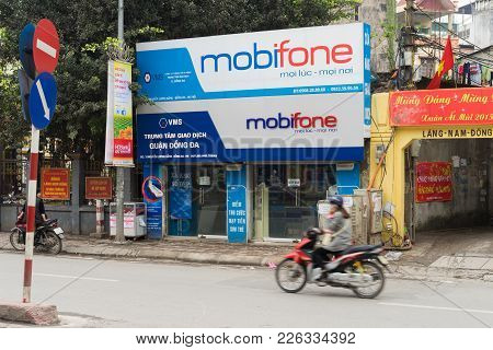 Hanoi, Vietnam - Mar 15, 2015: Exterior View Of Mobifone Agency In Nguyen Luong Bang Street. Mobifon
