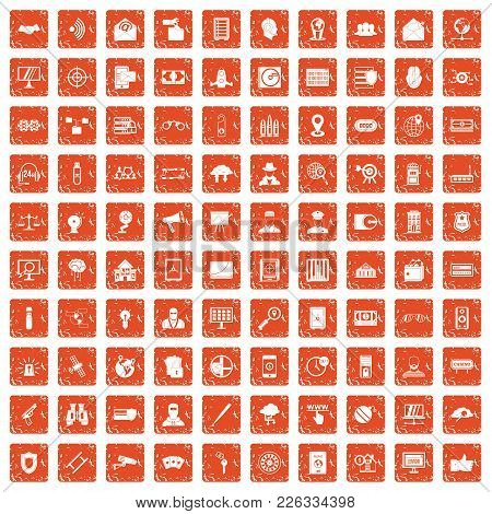 100 Security Icons Set In Grunge Style Orange Color Isolated On White Background Vector Illustration