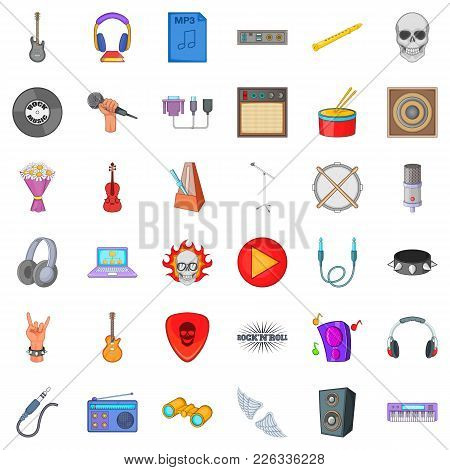 Music Experience Icons Set. Cartoon Set Of 36 Music Experience Vector Icons For Web Isolated On Whit