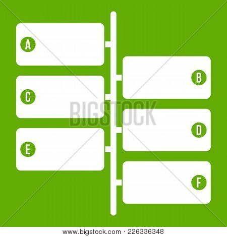 Infographic Blocks On Signpost Icon White Isolated On Green Background. Vector Illustration