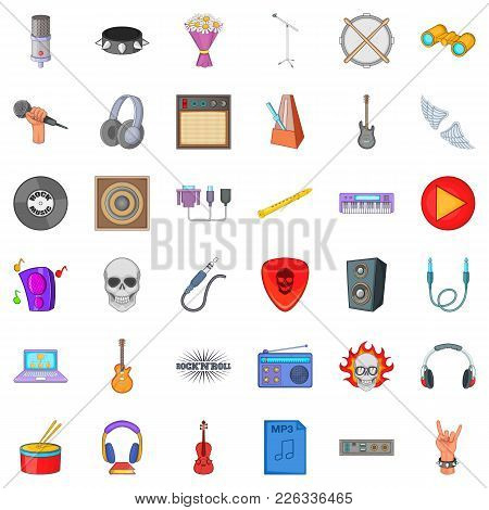 Tuneful Icons Set. Cartoon Set Of 36 Tuneful Vector Icons For Web Isolated On White Background
