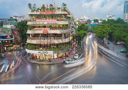 Hanoi, Vietnam - Aug 28, 2015: Aerial View Of Hanoi Cityscape At Twilight At Intersection Locating N
