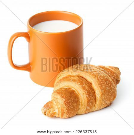 Cup Of Milk And Croissant Isolated On White Background
