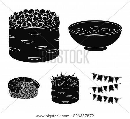 Bowl Of Soup, Caviar, Shrimp With Rice. Sushi Set Collection Icons In Black Style Vector Symbol Stoc