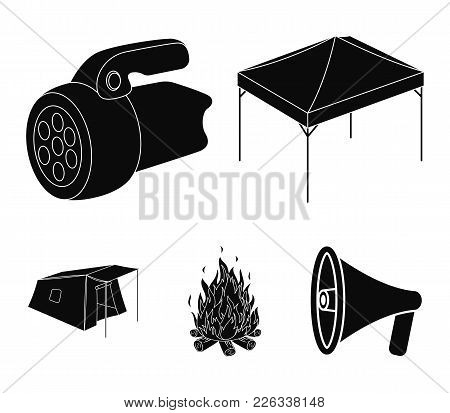 Awning, Fire And Other Tourist Equipment.tent Set Collection Icons In Black Style Vector Symbol Stoc