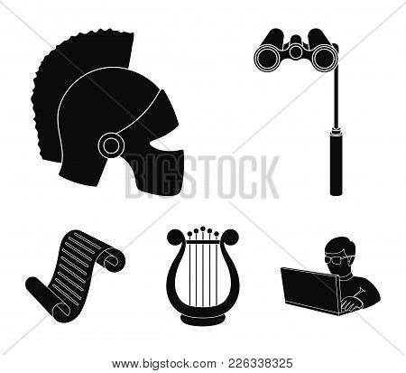 Theatrical binoculars, a helmet, a harp and a paper scroll. The theater set collection icons in black style vector symbol stock illustration . poster