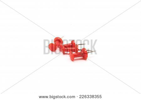 Drawing Pins. Concrete Buttons-carnations Red Isolated On White Background For Any Purpose