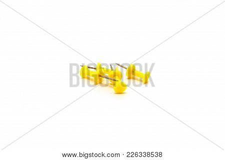 Drawing Pins. Concrete Buttons-carnations Yellow Isolated On White Background For Any Purpose