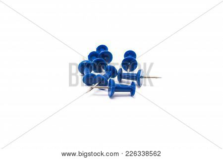 Drawing Pins. Concrete Buttons-carnations Blue Isolated On White Background For Any Purpose