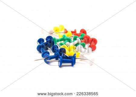 Drawing Pins. Concrete Buttons-carnations Of Different Colors Isolated On White Background For Any P