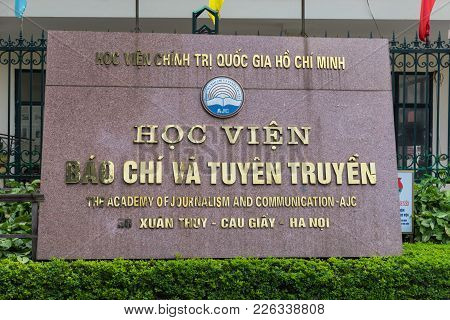 Hanoi, Vietnam - Apr 28, 2015: Name Board Of The Academy Of Journalism And Communication At The Entr