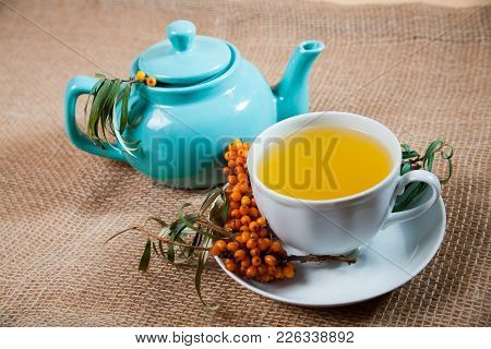 Healing Sea-buckthorn Tea Delicious Aromatic Full Of Vitamin And Microelements Of Bright Yellow Colo