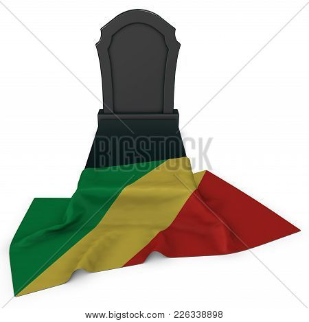 Gravestone And Flag Of The Congo - 3d Rendering