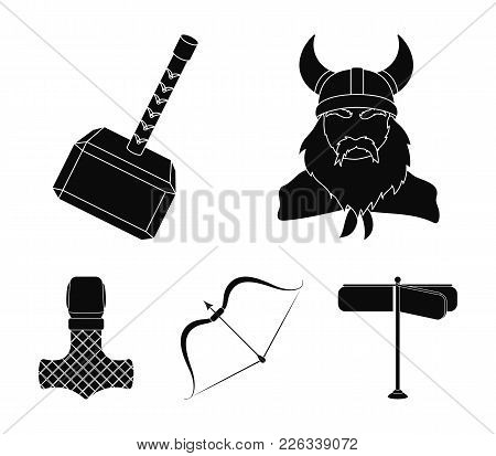 Viking In Helmet With Horns, Mace, Bow With Arrow, Treasure. Vikings Set Collection Icons In Black S
