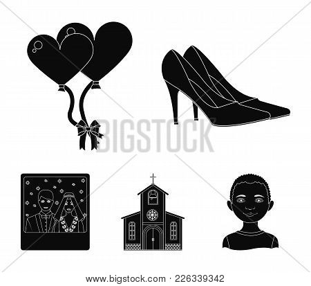 Elegant Wedding Shoes With Heels, Balloons For The Ceremony, A Church With A Stained-glass Window An
