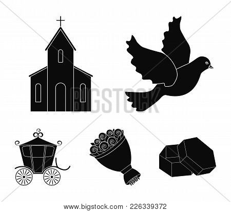 Pigeon, Church, Wedding Bouquet, Carriage. Wedding Set Collection Icons In Black Style Vector Symbol