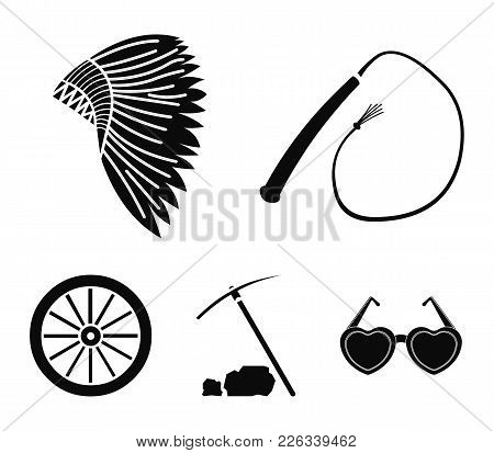 A Whip, An Indian Maghawk, A Wheel From A Cart, A Pick And A Hoe.wild West Set Collection Icons In B