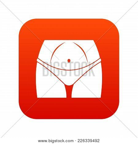 Slim Woman Body In Panties Icon Digital Red For Any Design Isolated On White Vector Illustration