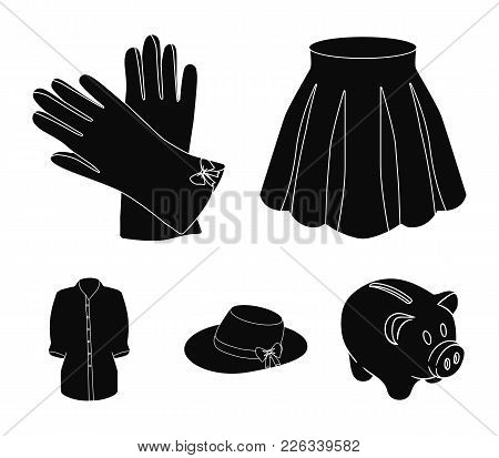 Skirt With Folds, Leather Gloves, Women's Hat With A Bow, Shirt On The Fastener. Women's Clothing Se