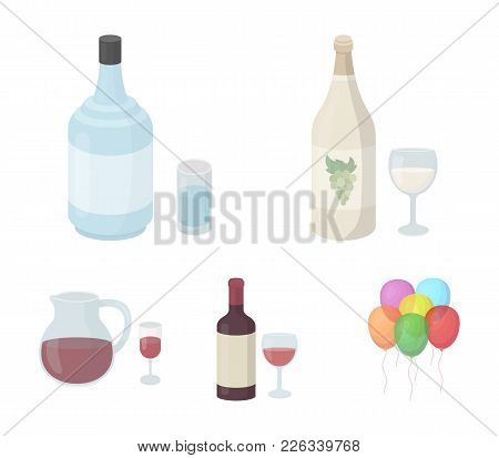 White Wine, Red Wine, Gin, Sangria.alcohol Set Collection Icons In Cartoon Style Vector Symbol Stock