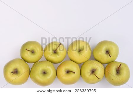 Fresh Yellow Apples With Short Brown Cuttings Lie In Two Rows At The Bottom Of The White Sheet, I Cu