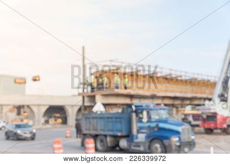 Blurred Construction Of Elevated Highway In Progress Infrastructure