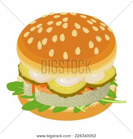 Sandwich Icon. Isometric Illustration Of Sandwich Vector Icon For Web