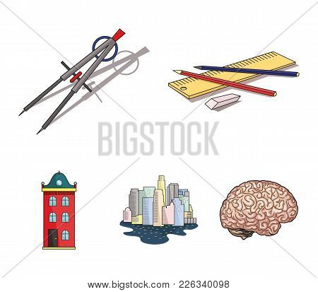 Drawing Accessories, Metropolis, House Model. Architecture Set Collection Icons In Cartoon Style Vec