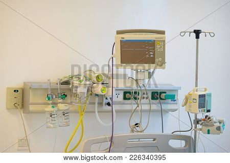 Hanoi, Vietnam - Sep 19, 2015: Medical Devices On Bedhead Of Hospital Birth Bed In Vinmec Internatio
