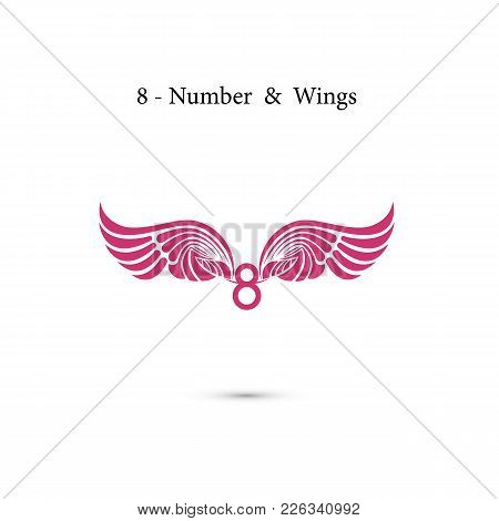 8-number Sign & Angel Wings.elegant Alphabet Letters And Wings.creative 8 March Logo Vector Design W
