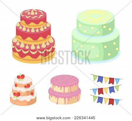 Sweetness, Dessert, Cream, Treacle .cakes Country Set Collection Icons In Cartoon Style Vector Symbo