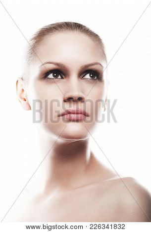 Beautiful Woman Girl Natural Makeup Portrait With Smokey Eyes On White Background