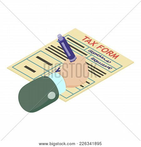 Tax Form Icon. Isometric Illustration Of Tax Form Vector Icon For Web