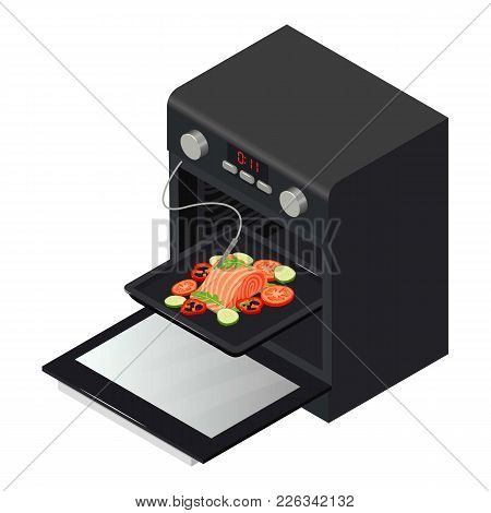 Oven Icon. Isometric Illustration Of Oven Vector Icon For Web