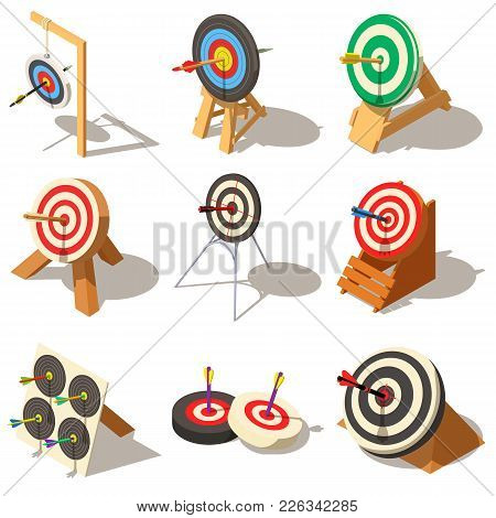 Target With Arrow Icons Set. Isometric Illustration Of 9 Target With Arrow Logo Vector Icons For Web