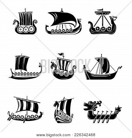 Viking Ship Boat Drakkar Icons Set. Simple Illustration Of 9 Viking Ship Boat Drakkar Vector Icons F