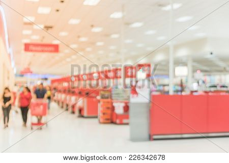 Burred Checkout Counter At Retail Chain Store In America