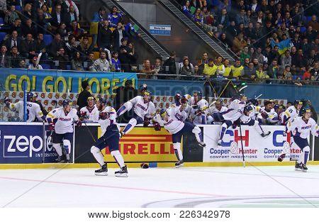 Kyiv, Ukraine - April 28, 2017: Team Of South Korea, Silver Medalist Of The Iihf 2017 Ice Hockey Wor