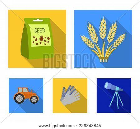 Spikelets Of Wheat, A Packet Of Seeds, A Tractor, Gloves.farm Set Collection Icons In Flat Style Vec