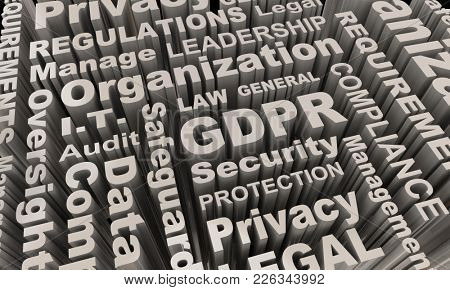 GDPR Word Collage Background Data Security Protection 3d Illustration