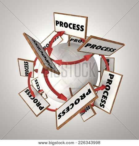 Process System Procedure Arrows Signs Globe 3d Illustration