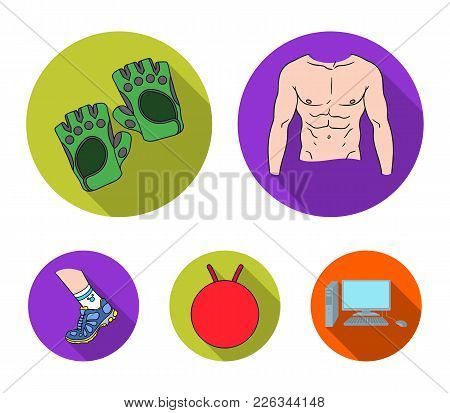 Men's Torso, Gymnastic Gloves, Jumping Ball, Sneakers. Fitnes Set Collection Icons In Flat Style Vec